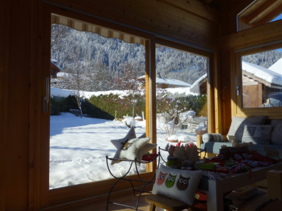 Living room perfect for family hoe or commercial use in Chalet For Sale in Essert Romand through Leggett Immobilier - Morzine/Les Gets